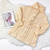Работы для детей, handmade. Livemaster - original item Beige baby knitted dress. Handmade.