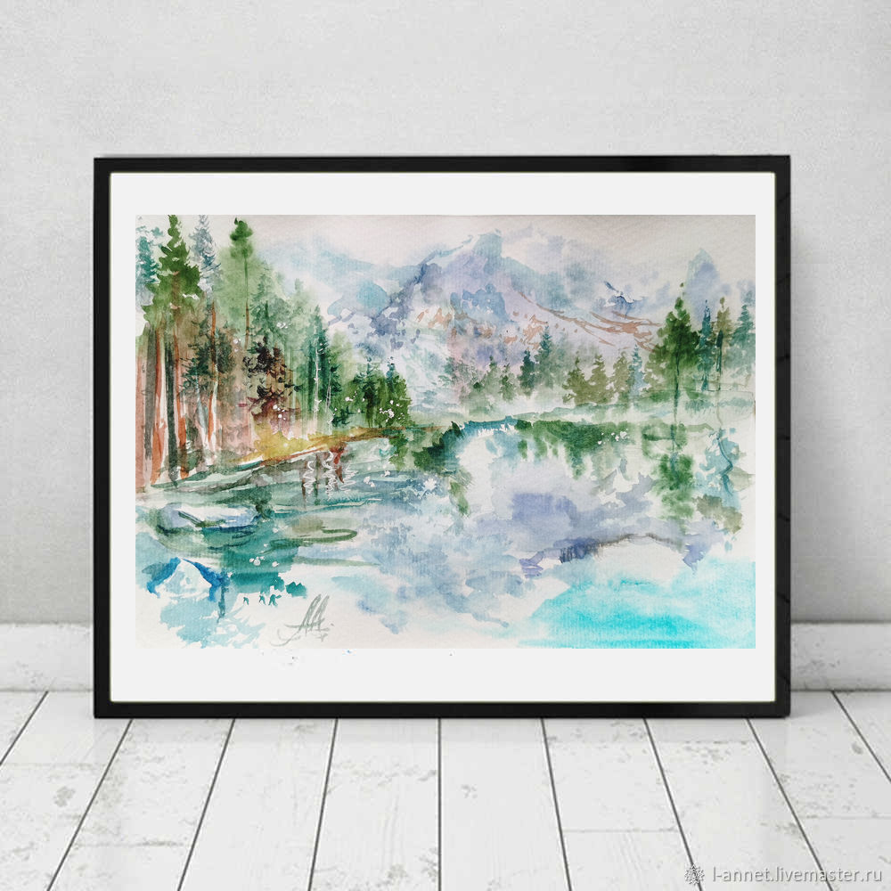 Diptych, paintings with mountains-watercolor paintings, Pictures, Moscow,  Фото №1