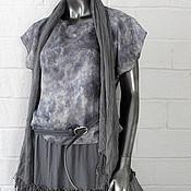 Одежда ручной работы. Ярмарка Мастеров - ручная работа Светло серая юбка жатка многоярусная в бохо стиле.. Handmade.