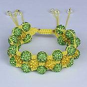 Украшения ручной работы. Ярмарка Мастеров - ручная работа Браслет Шамбала многорядный тройной желто-зеленый. Handmade.