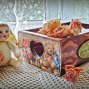 Короб ручной работы. Ярмарка Мастеров - ручная работа Короб деревянный для мелочей Sweet Lovely Teddies. Handmade.
