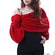 """Большие размеры ручной работы. Шарф-свитер безразмерный вязаный """"Красный"""" в любом цвете, любой размер. Одежда для женщин шикарных размеров (seanna12). Интернет-магазин Ярмарка Мастеров."""