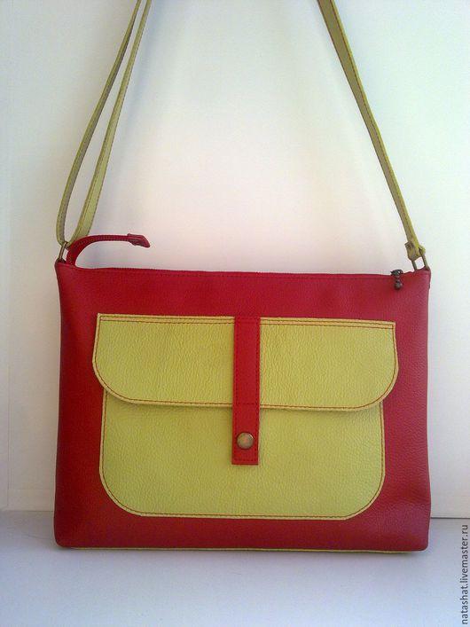Женские сумки ручной работы. Ярмарка Мастеров - ручная работа. Купить Сумочка, красный + салатовый. Handmade. Ярко-красный
