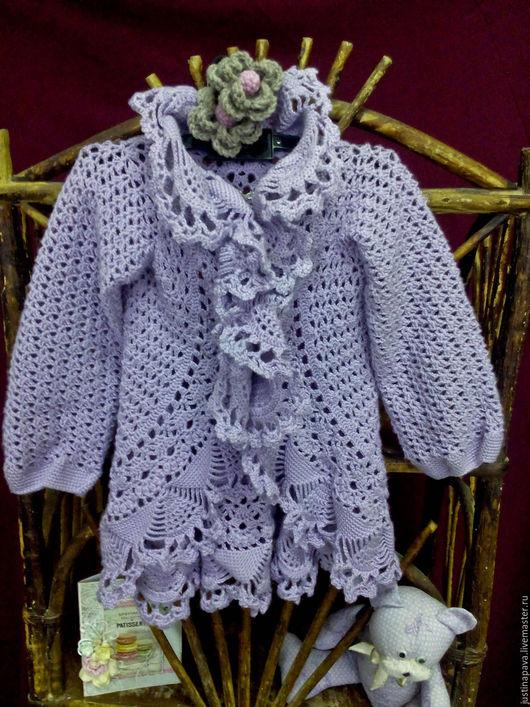 Одежда для девочек, ручной работы. Ярмарка Мастеров - ручная работа. Купить Ажурный кардиган Фиолет для девочки. Handmade. Сиреневый, фиолетовый
