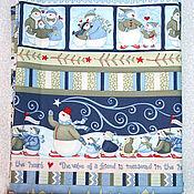 Материалы для творчества ручной работы. Ярмарка Мастеров - ручная работа Новогодняя ткань бордюрная снеговики-семья. Handmade.