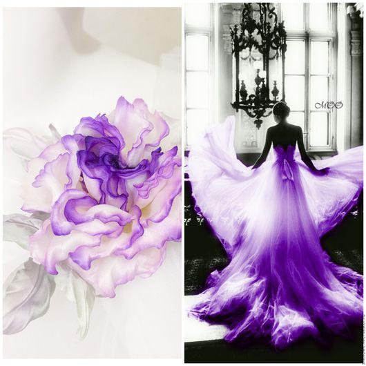 Цветы ручной работы. Ярмарка Мастеров - ручная работа. Купить Пурпурная роза из шелка - заколка - брошь. Цветок из шелка.. Handmade.