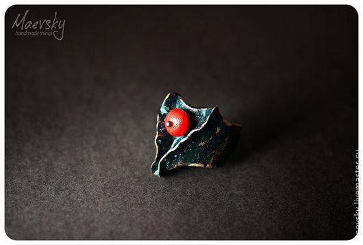 """Кольца ручной работы. Ярмарка Мастеров - ручная работа. Купить Медное кольцо """"Танец дракона"""" с кораллом, медь, украшение. Handmade."""