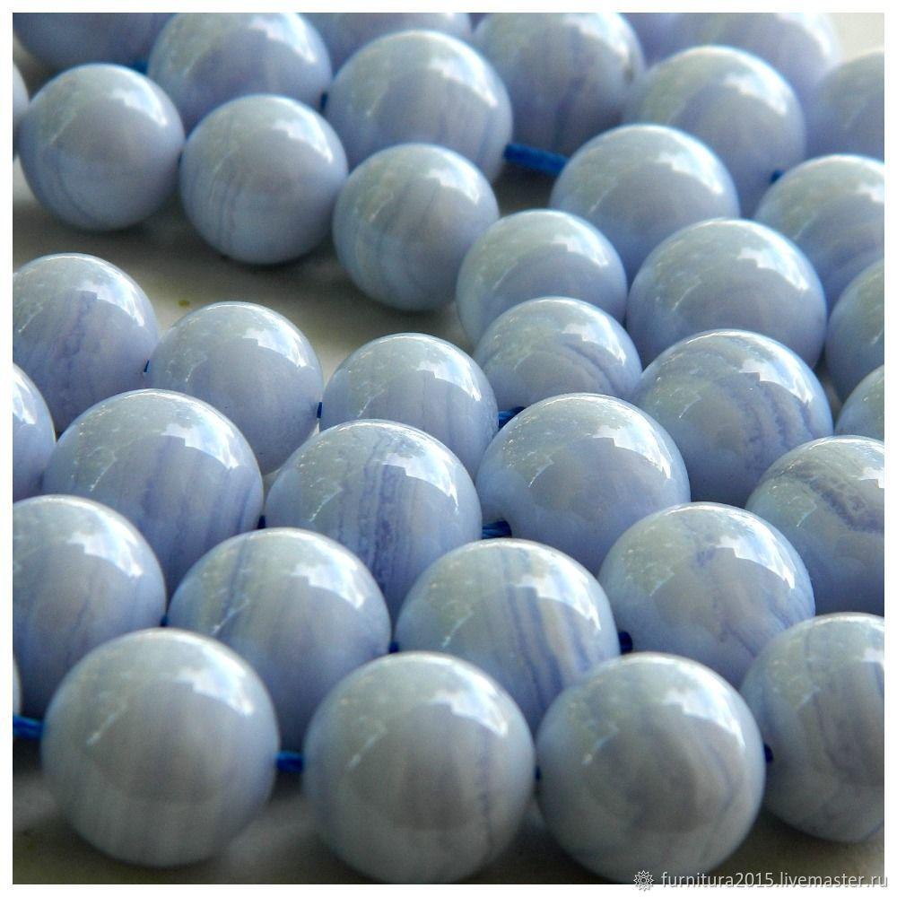 Сапфирин 12 мм бусины голубой Кружевной Агат. шт, Бусины, Саратов,  Фото №1