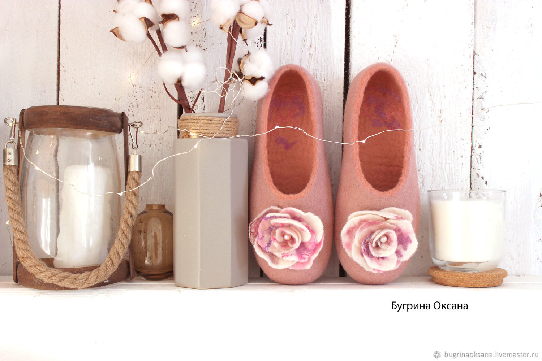 'Vintage pink ' felted women's Slippers, Slippers, St. Petersburg,  Фото №1