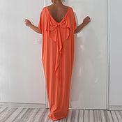 Одежда ручной работы. Ярмарка Мастеров - ручная работа Персиковое макси длинное платье, кафтан, абайя с открытой спиной. Handmade.