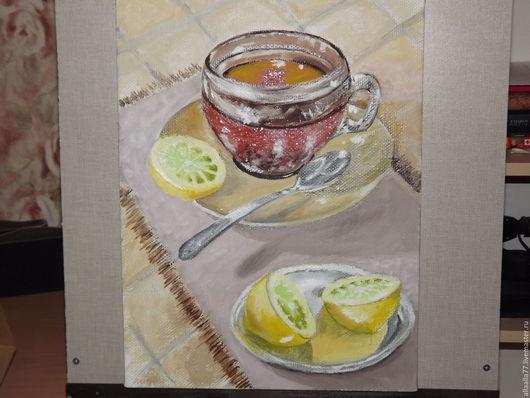 """Натюрморт ручной работы. Ярмарка Мастеров - ручная работа. Купить Картина """"Доброе утро"""". Handmade. Лимонный, утро, картина для интерьера"""