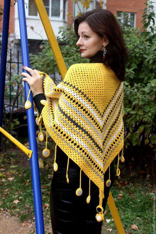 """Шали, палантины ручной работы. Ярмарка Мастеров - ручная работа. Купить Шаль-платок """" Солнечная"""". Handmade. Желтый"""