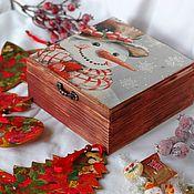 Сувениры и подарки handmade. Livemaster - original item New Year`s souvenirs in the snowman box. Handmade.