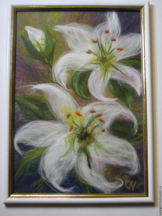 Картины цветов ручной работы. Ярмарка Мастеров - ручная работа. Купить Лилии. Handmade. Белый, шерстяная акварель, теплая картина