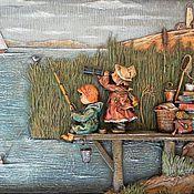 """Картины и панно ручной работы. Ярмарка Мастеров - ручная работа """"У озера"""" папье-маше, миниатюра. Handmade."""