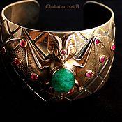 Готический браслет-манжета Изумруд турмалин ручная работа