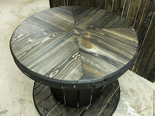 Мебель ручной работы. Ярмарка Мастеров - ручная работа. Купить Стол из катушки для кабеля с наборной столешницей. Handmade. Черный, барабан