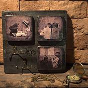 """Для дома и интерьера ручной работы. Ярмарка Мастеров - ручная работа Ретро ключница """"Маленькая девочка и Кот"""". Handmade."""