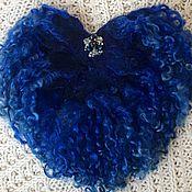 """Украшения ручной работы. Ярмарка Мастеров - ручная работа Валяная брошь """"Синее сердце"""". Handmade."""