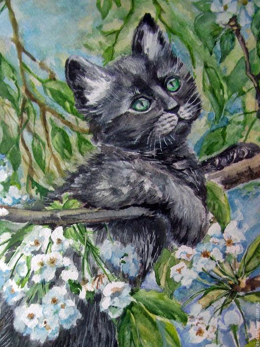 Животные ручной работы. Ярмарка Мастеров - ручная работа. Купить Кот мечтатель. Handmade. Серый, весна, котик, животное