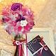 """Персональные подарки ручной работы. Ярмарка Мастеров - ручная работа. Купить Топиарий """"Изысканная нежность"""". Handmade. Фатин, атласные цветы"""