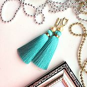 Tassel earrings handmade. Livemaster - original item Earring of the brush Mint flavor light Teal light green mint. Handmade.