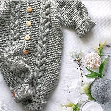 Одежда ручной работы. Ярмарка Мастеров - ручная работа Комбинезон детский вязаный с ушками. Handmade.