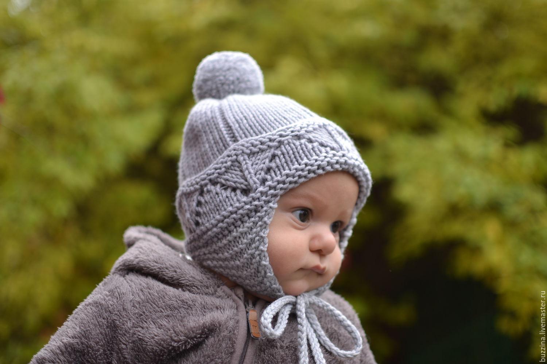 Детская шапочка для мальчика 44-46с, теплая шапочка для новорожденного, Шапки, Москва,  Фото №1