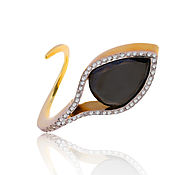Украшения handmade. Livemaster - original item Gold ring with black diamond 10 ct German Kabirski. Handmade.