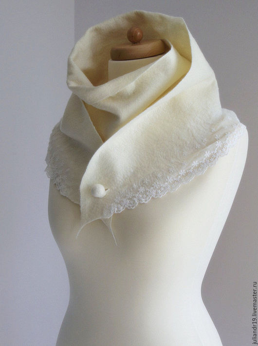 Шарфы и шарфики ручной работы. Ярмарка Мастеров - ручная работа. Купить Кружевной шарф. Нежный молочно-белый шерстяной шарф с кружевом. Handmade.