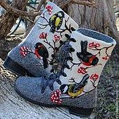 """Обувь ручной работы. Ярмарка Мастеров - ручная работа Валяные ботиночки """"Птицы"""". Handmade."""