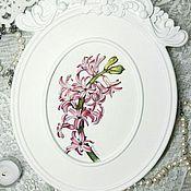 Картины и панно ручной работы. Ярмарка Мастеров - ручная работа Розовый гиацинт (в раме). Handmade.