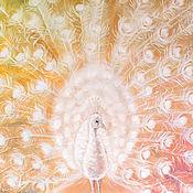 Картины и панно ручной работы. Ярмарка Мастеров - ручная работа Солнечный Павлин-картина на шелке. Handmade.