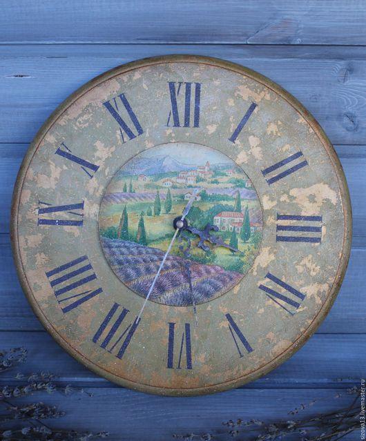 """Часы для дома ручной работы. Ярмарка Мастеров - ручная работа. Купить Часы """"Лавандовое поле"""". Handmade. Золотой, часы прованс"""