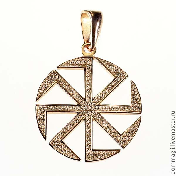 Kolovrat of bilateral 25 mm gold, Amulet, Moscow,  Фото №1