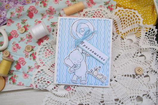 """Пригласительные ручной работы. Ярмарка Мастеров - ручная работа. Купить Приглашение на крестины или день рождения """"14"""". Handmade. Голубой"""