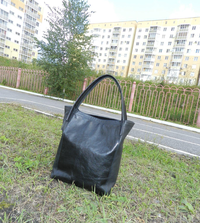 Кожаная сумка-шоппер - черный, Женские сумки, Новокузнецк, Фото №1