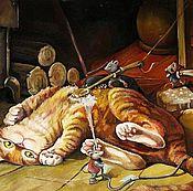 """Картины и панно ручной работы. Ярмарка Мастеров - ручная работа Картина маслом для детей """"Банный день кота Кузи"""" 50/35 см. Handmade."""