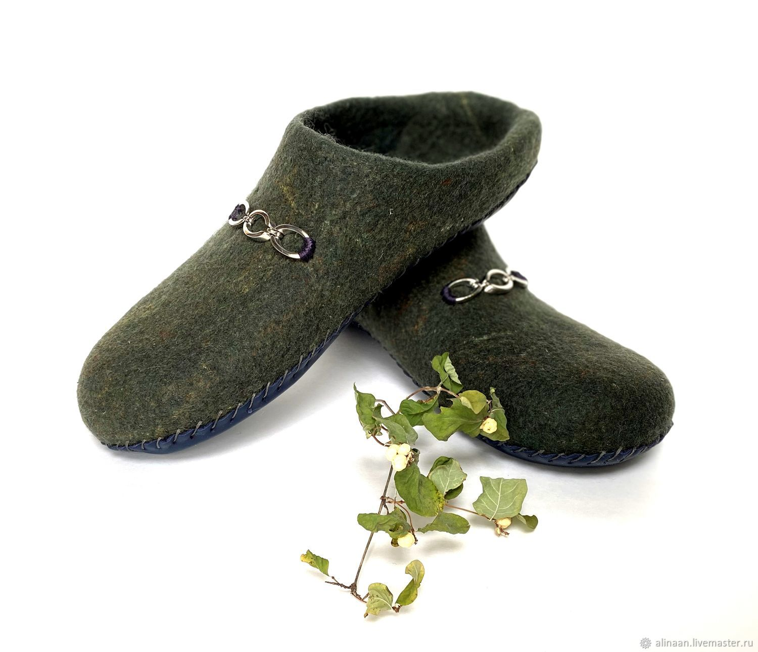 Felted slippers men's slippers 'Green' eco-boots, Flip flops, Moscow,  Фото №1