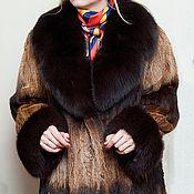 Одежда ручной работы. Ярмарка Мастеров - ручная работа Шуба лиса европейская манто большой размер натуральный цвет. Handmade.