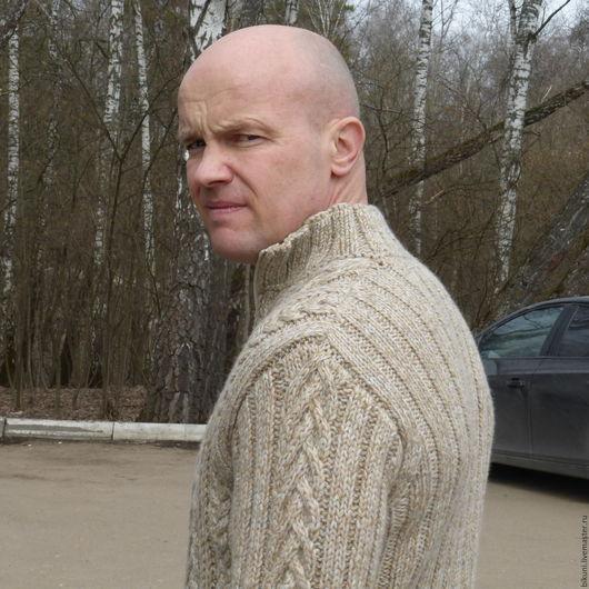 Для мужчин, ручной работы. Ярмарка Мастеров - ручная работа. Купить Мужской свитер на молнии Пробуждение. Ручное вязание на заказ. Handmade.