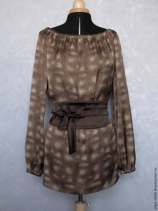 Блузки ручной работы. Ярмарка Мастеров - ручная работа. Купить Блузка с поясом Оби 2. Handmade. Коричневый, блузка летняя