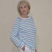 Одежда ручной работы. Ярмарка Мастеров - ручная работа Шелковая тельняшка бело-голубая ( итальянский шелк). Handmade.