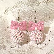 Украшения handmade. Livemaster - original item Earrings bow white shabby chic. Handmade.