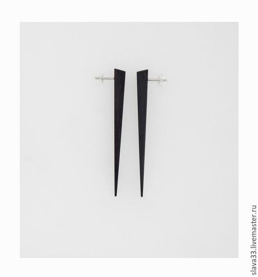 Серьги ручной работы. Ярмарка Мастеров - ручная работа. Купить Серьги-стрелки из черного дерева.. Handmade. Черный, wooden earrings