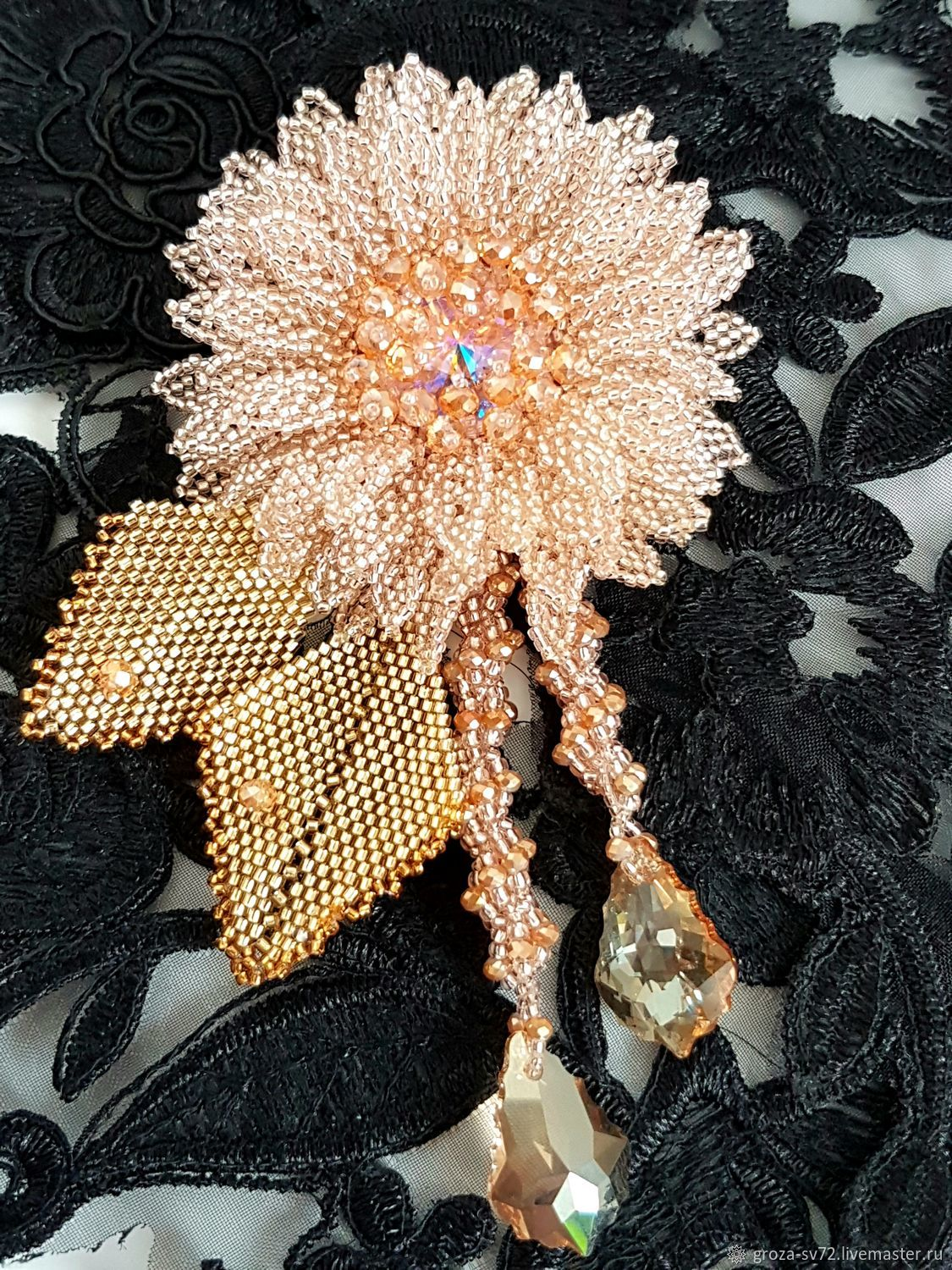 A beaded brooch ' Delicate silk ', Brooches, Moscow,  Фото №1