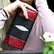Wallets handmade. Livemaster - original item Purse female. Purse made from Python and Stingray. Gifts for women. Handmade.
