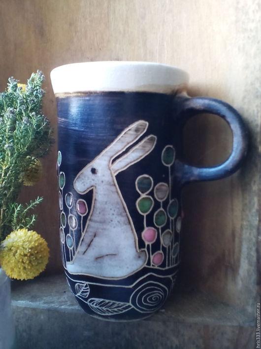 """Кружки и чашки ручной работы. Ярмарка Мастеров - ручная работа. Купить Чашка- бокал  большой """"Пасхальные зайцы """". Handmade. Белый"""