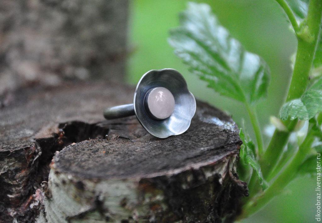 Ring silver Sakura pink quartz, Rings, Moscow,  Фото №1