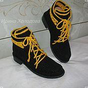 Ботинки ручной работы. Ярмарка Мастеров - ручная работа Ботиночки хлопковые, вязаные. Handmade.
